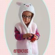 女童珊瑚绒棒针小兔连帽背心