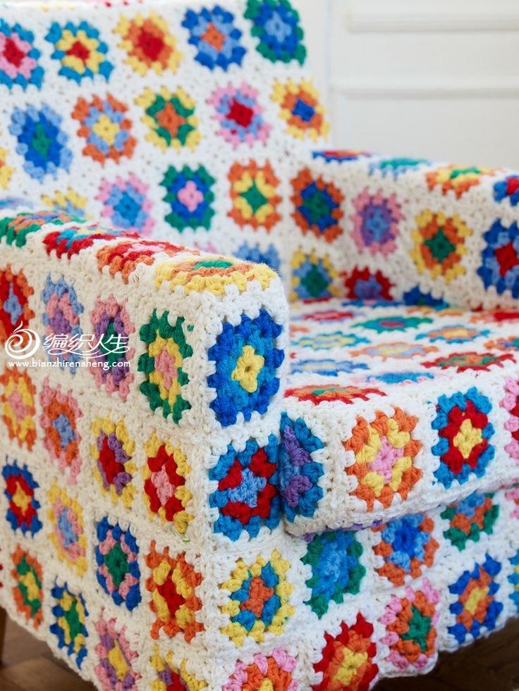 祖母方格沙发罩