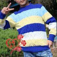 7岁男童棒针编织配色套头毛衣
