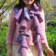 时尚简单造型棒针编织围巾