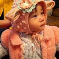 仿外网超有爱的儿童钩花羊羊帽
