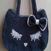 棉草钩针编织卡通猫咪包包