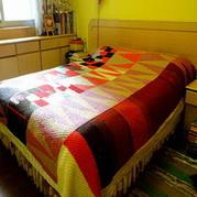 低碳环保几何图形棒针编织床毯