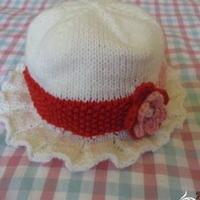 女童钩花滚边棒针编织帽子教程