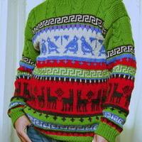 圣诞风格棒针编织提花男士毛衣