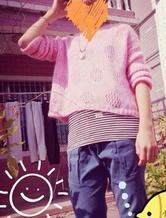 粉色甜甜圈棒针女孩宽松短罩衫