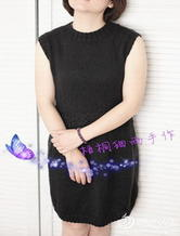 每个女人都该拥有的小黑裙 棒针无袖连衣毛线裙
