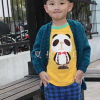 5岁男童V领贴布棒针外套开衫
