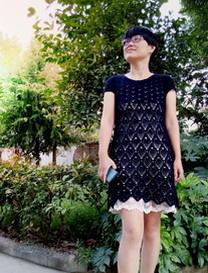 唯美钩针镂空菠萝花短袖连衣裙