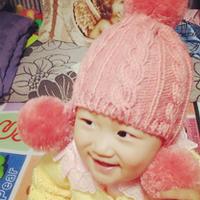 绒球麻花棒针编织宝宝护耳帽