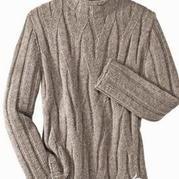 枝桠交织棒针编织男士套头毛衣