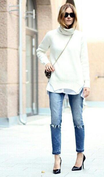 女士不规则毛衣