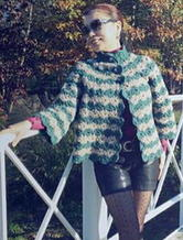 粗羊毛钩针编织双色花开衫