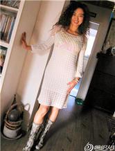 美人鱼 亮片羊毛钩针长袖蕾丝裙