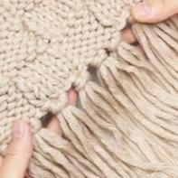 格子流苏围巾编织教程 零基础学织围巾