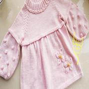 棒针编织宝宝球球毛衣裙