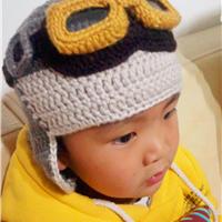 粗针粗线儿童飞行员造型护耳帽