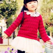 小红藤 女童钩针编织套头衫