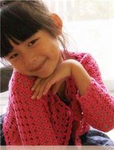 钩针编织女童玫红小披开衫