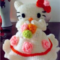婚庆玩偶 钩针编织Kitty新娘玩偶
