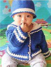 婴幼儿钩针编织海军服及帽子