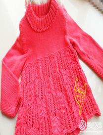 云柔棕榈花棒针女童高领娃娃衫