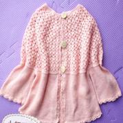 女童浅粉钩织结合羊绒小开衫
