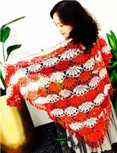 蕾丝钩针编织扇花三角披肩