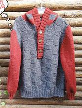 男士个性连帽棒针毛衣