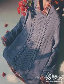 暖蓝 云柔男士圆领毛衣