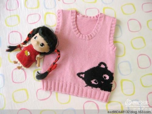 棒针编织儿童背心 猫咪图案花样图解