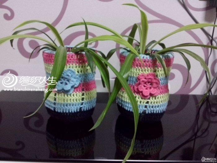 低碳环保手工diy彩虹毛线花瓶