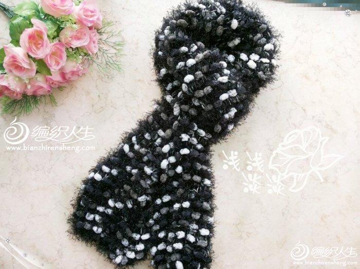 棒针编织松树纱珍珠线七彩围巾