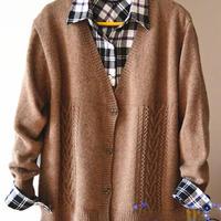 男士棒针编织驼色羊绒开衫