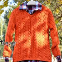 3岁男童棒针编织麻花V领毛衣
