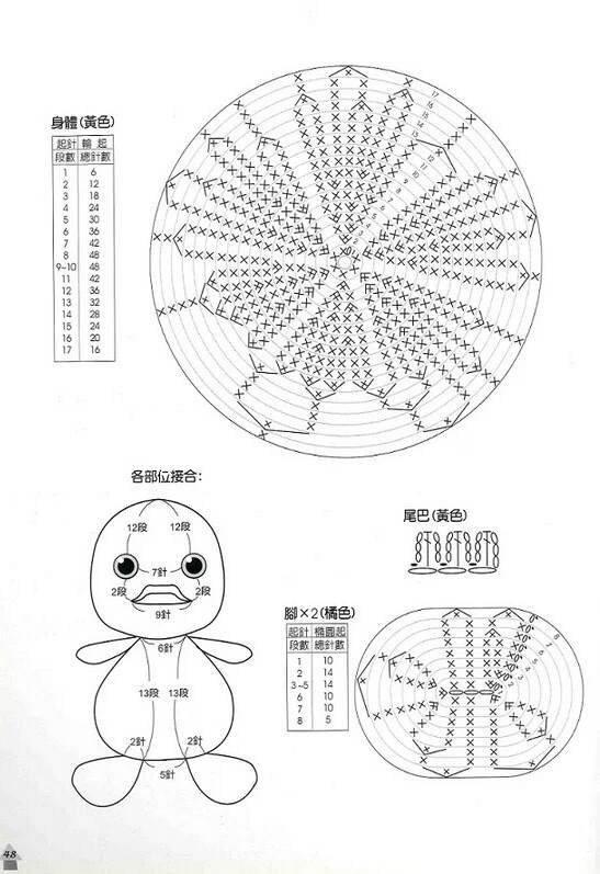 钩针编织小黄鸭玩偶图解教程