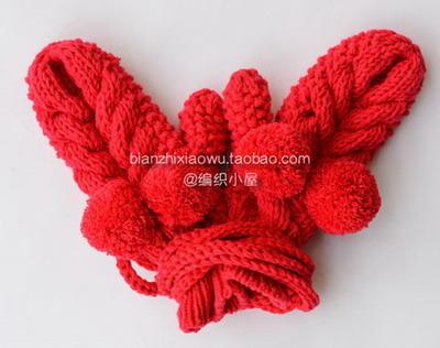 绒球麻花手套