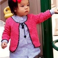 一款钩法简单的气质女宝开衫