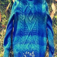 蓝彩 复古花样男孩棒针毛衣