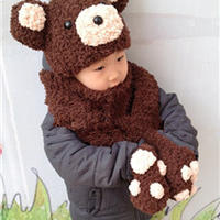 宝宝熊猫帽子围巾两件套 棒针视频教程