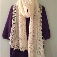 镂空棒针编织蕾丝长围巾