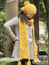 冬季棒针编绞花口袋围巾与帽子