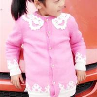 仿淘宝蕾丝领粉色棒针女童开衫