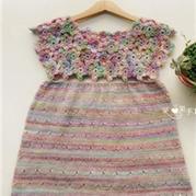 花团锦簇女童钩织结合背心裙