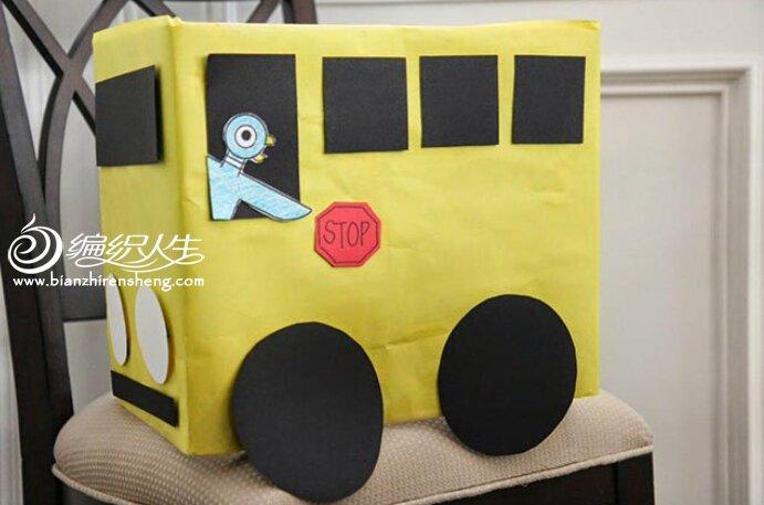 儿童手工diy 纸箱公交车