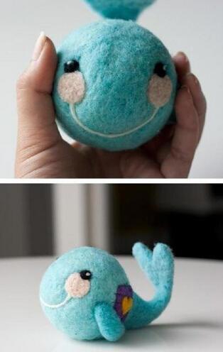 手工diy宝宝玩具 羊毛毡小鲸鱼公仔-编织人生
