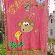 棒针编织小猴图案毛毯 燕语原创
