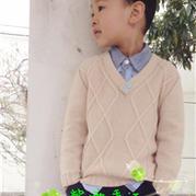 托尼艾米 韩版男童V领棒针毛衣