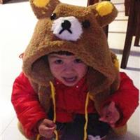 棒针小熊连帽儿童马甲