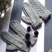 时尚灰 情侣棒针编织麻花手套